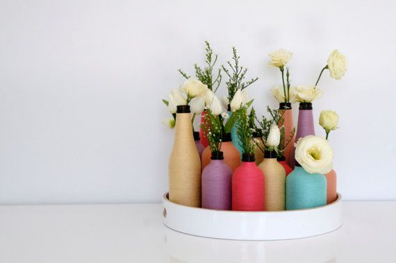Decorative 500ml bottle/vase wrapped in pastel bakers twine FREE POSTAGE. $29.95, via Etsy.
