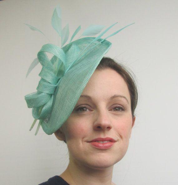 Aqua Blue Hatinator - Disc Fascinator, Saucer Hat, Mint Green Fascinator, Races Hat, Womens Hats and Fascinators, Ladies Hat, Tea Party