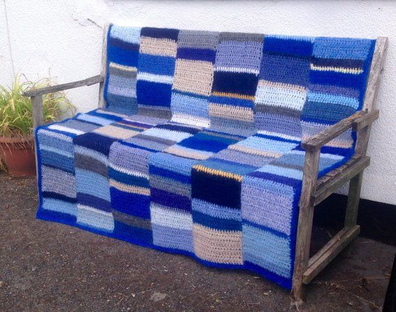 Large Mohair Mix Sofa Throw Blue Crochet Afghan Fluffy Blue Yellow Throw Yellow Throw Sofa Throw Handmade Blanket
