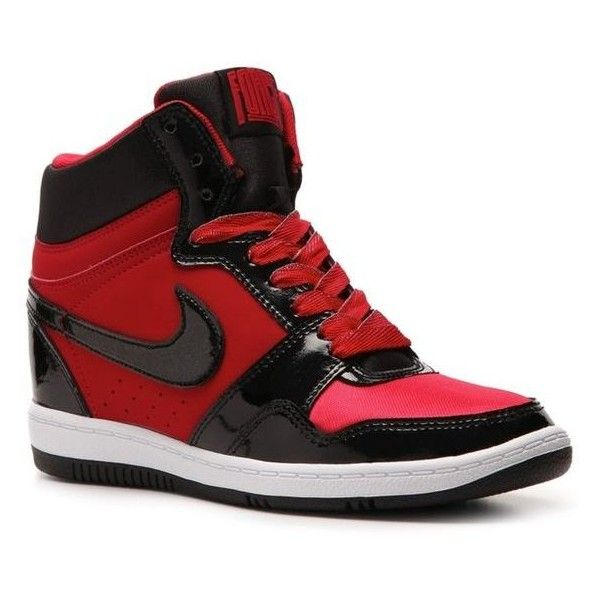 Nike Force Sky High Wedge Sneaker Womens ❤ liked on Polyvore featuring shoes, sneakers, nike trainers, wedge sneakers, wedged sneakers, nike shoes and nike sneakers