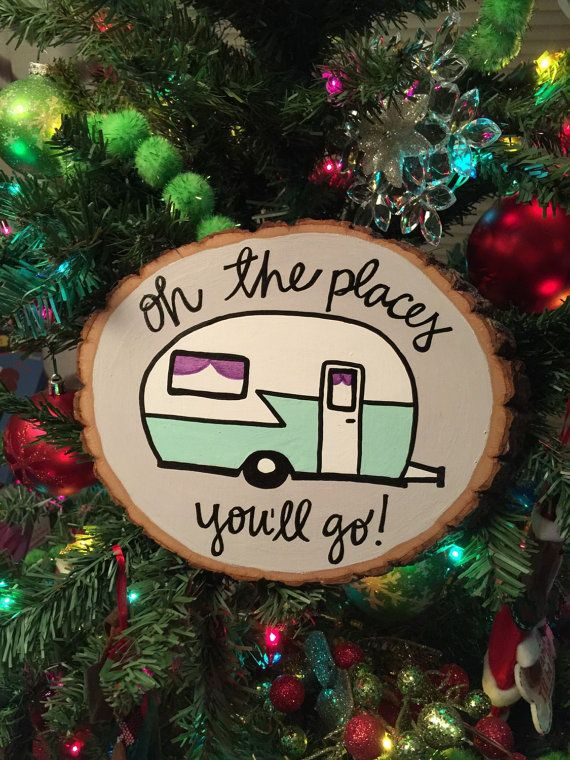 Happy Camper wood slice sign  oh the places by OneofakindArizona