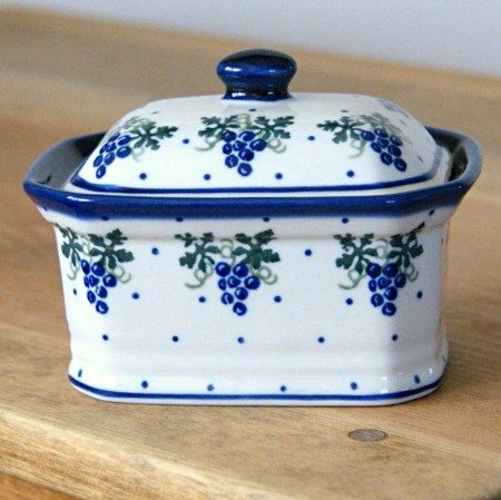 Polish pottery - box for storing your tea bags, sugar, candy...