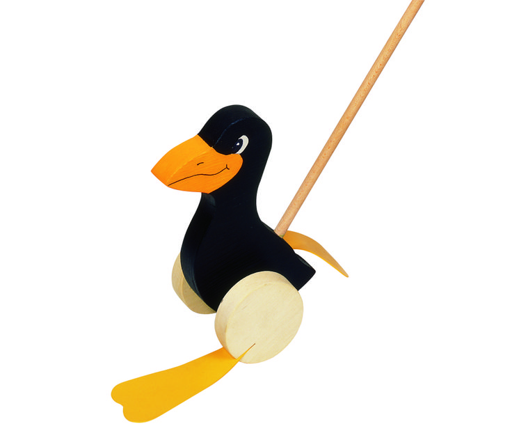 Natural and high quality toys to the development of the skills of children. Push along animal raven