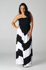 WOMEN STRAPLESS PLUS SIZE CHEVRON MAXI DRESS Striped Black White Long 1X 2X 3X