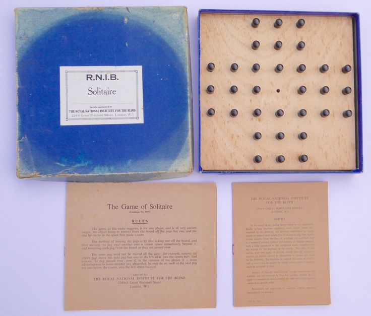 RNIB 1950s Solitaire Set BRAILLE Royal National Institute for the Blind Vintage Solitaire Game Traditional Board Game by BiminiCricket on Etsy