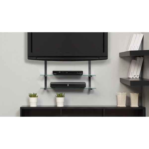 Glass TV Mount with Shelves http://www.overstock.com/Electronics/AltraMount-Quick-Mount-with-Two-Glass-Shelves/7532187/product.html