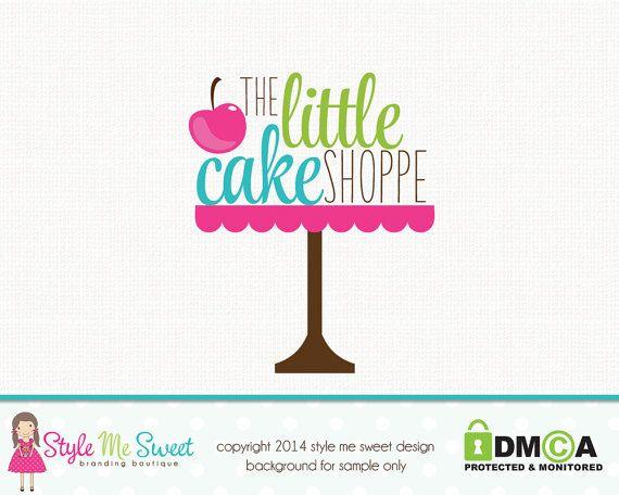 Premade Bakery Logo Cake Stand Logo Small Business Branding Watermark Design Hand Drawn