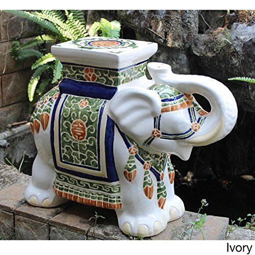 Outdoor Statues Large Size Oriental Themed Large Ivory White Porcelain Elephant  Garden Stool Accent Statue