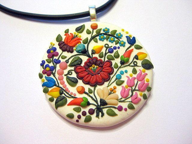 Kalocsai embroidery clay pendant