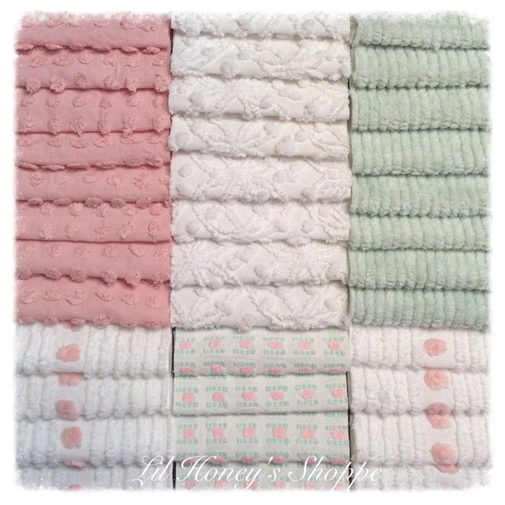 """Chenille fabric quilt squares 36-6"""" blocks, soft pink & green, vintage bedspread fabric by lilhoneysshoppe on Etsy"""