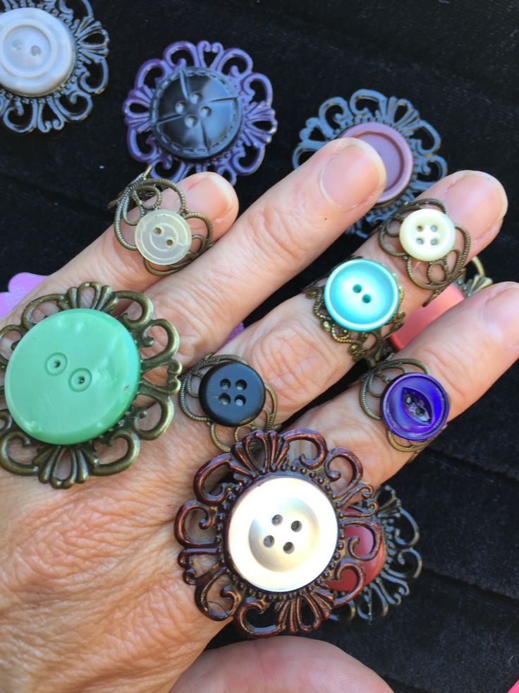 Vintage button rings! Handmade by me!