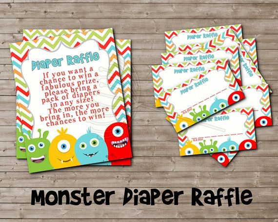 Printable Diaper Raffle for LITTLE MONSTER Baby Shower by DandeAve, $5.00