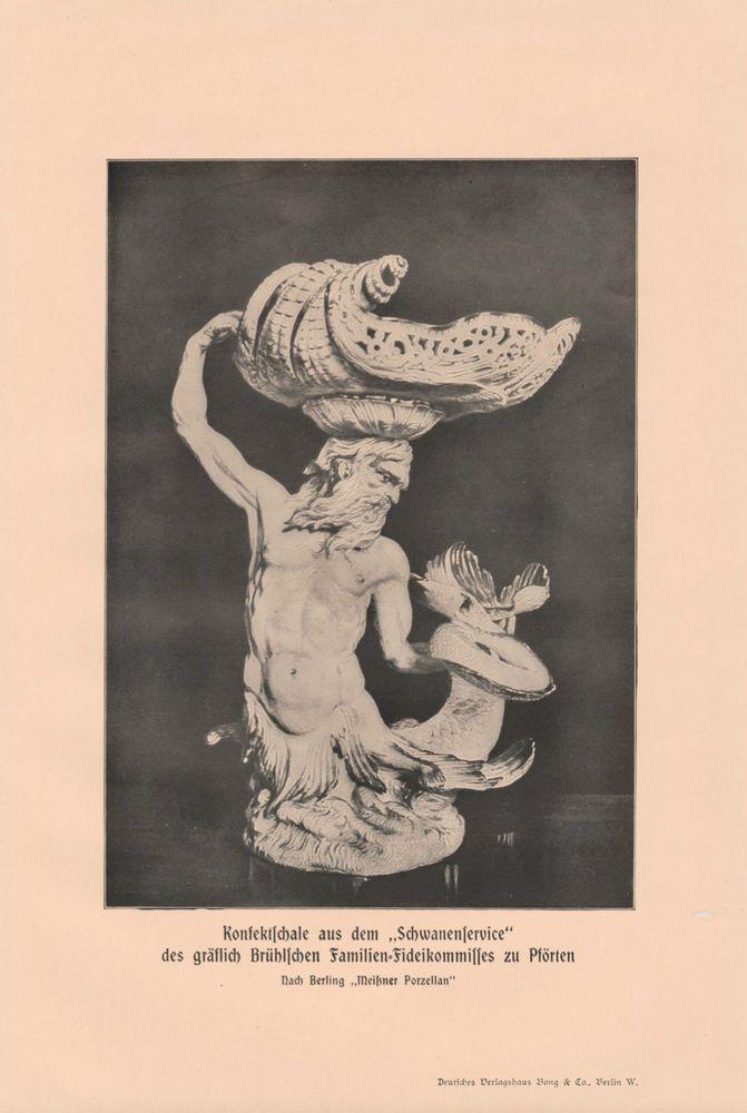 Konfektschale Schwanenservice DRUCK von 1913 Meißner Porzellan Heinrich von Brühl