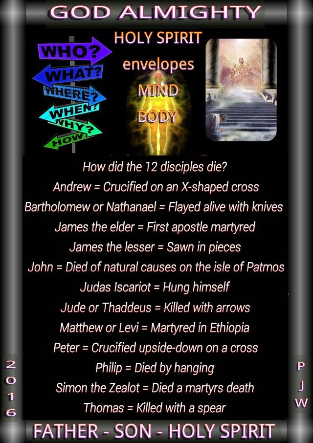 How did the 12 disciples die? Andrew = Crucified on an X-shaped cross Bartholomew or Nathanael = Flayed alive with knives James the elder = First apostle martyred James the lesser = Sawn in pieces John = Died of natural causes on the isle of Patmos Judas Iscariot = Hung himself Jude or Thaddeus = Killed with arrows Matthew or Levi = Martyred in Ethiopia Peter = Crucified upside-down on a cross Philip = Died by hanging Simon the Zealot = Died a martyrs death Thomas = Killed with a spear