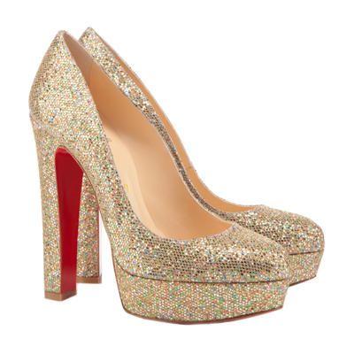 Christian Louboutin Round Toe Bibi Glitter Platform Gold Evening Shoes