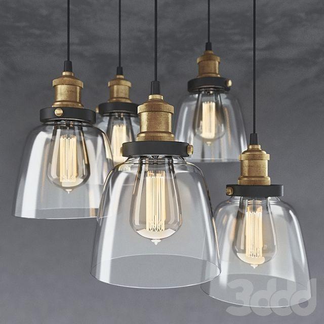 3d модели: Люстры - 5-light Edison Lamp with Bulbs. Люстра с 5ю подвесами и лампочками Эдисона