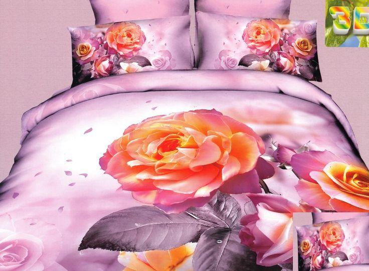 Pomarańczowa róża różowa pościel 3D