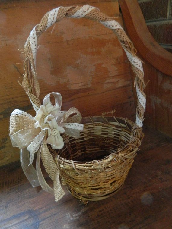 Rustic Flower girl basket burlap linen flower and lace
