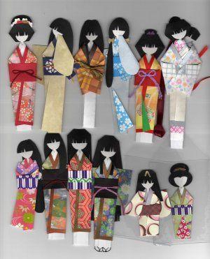 Japanese Angled Ningyo Forms-Kimono Origami Doll Book