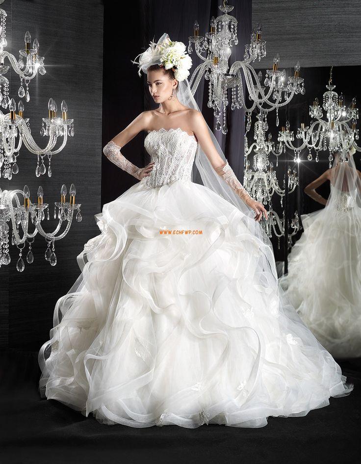 Pánt nélküli  Ujjatlan Természetes Menyasszonyi ruhák 2015