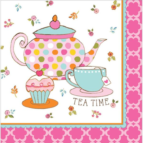 Tea Time 2 Ply Lunch Napkins/Case of 192  sc 1 st  Pinterest & 17 best Tea Time Theme Birthday Party Tableware images on Pinterest ...