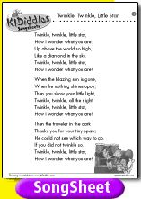 Twinkle, Twinkle Little Star song and lyrics from KIDiddles