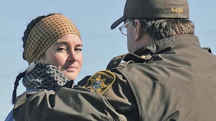 Actress Shailene Woodley, star of the Divergent film series, is arrested during a protest in North Dakota against an oil pipeline that will cross four states.