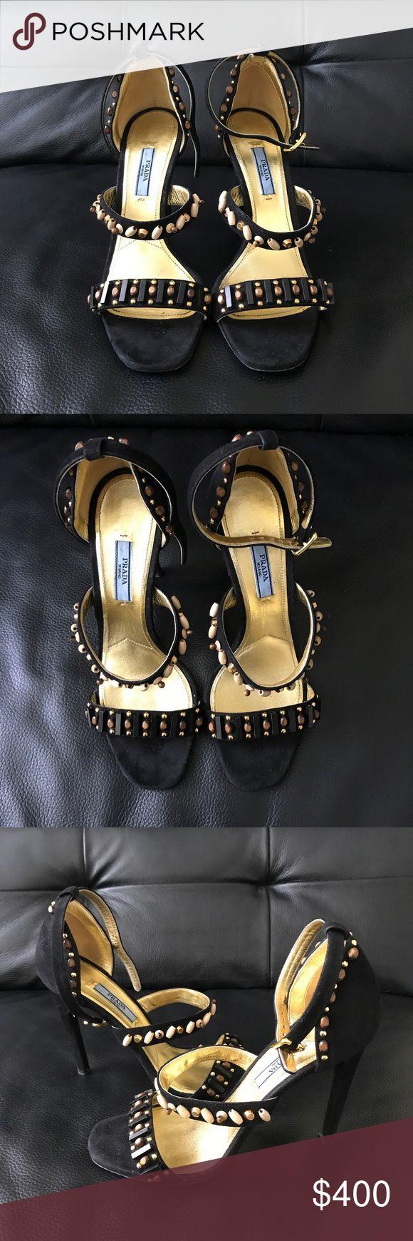 SALE!!  PRADA Beaded Suede Triple-Strap Sandals PRADA Suede Beaded strappy Sandals - perfect condition, no signs of wear. Prada Shoes Sandals