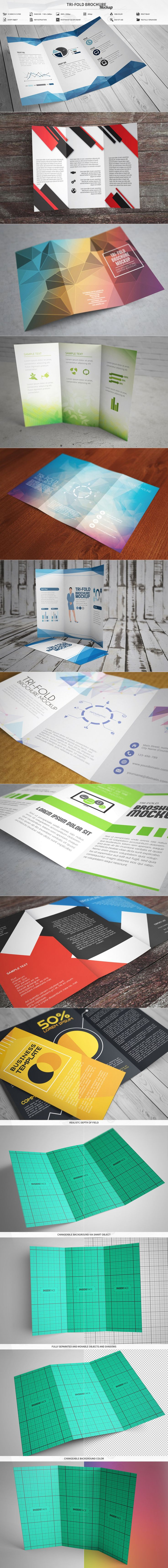 Tri-Fold Brochure Mockup by MassDream on @creativemarket