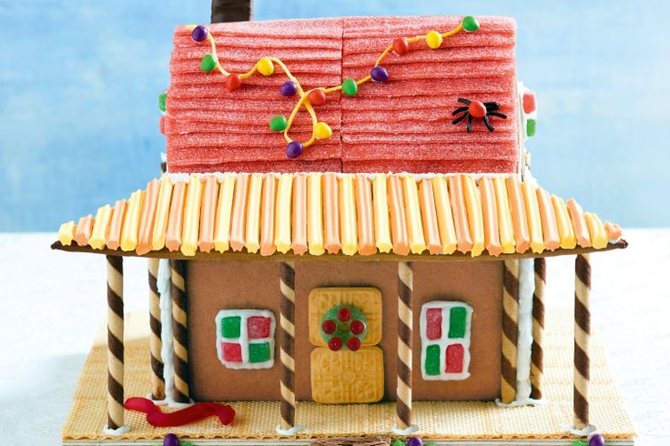 Gingerbread homestead. Round up the rellies, roll up the sleeves and get everyone involved in making this amazing centrepiece the highlight of the holiday. #Aussie #Australian #Christmas