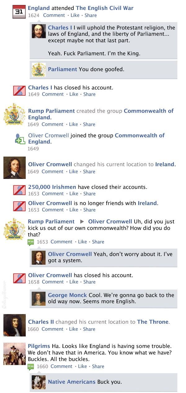 history of the world through facebook updates