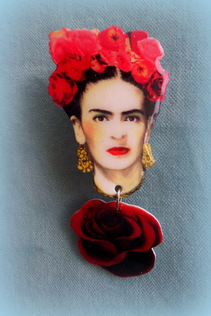 Frida Kahlo Brooch -  Acrylic Plastic  -  Handmade by FridasCorner on Etsy