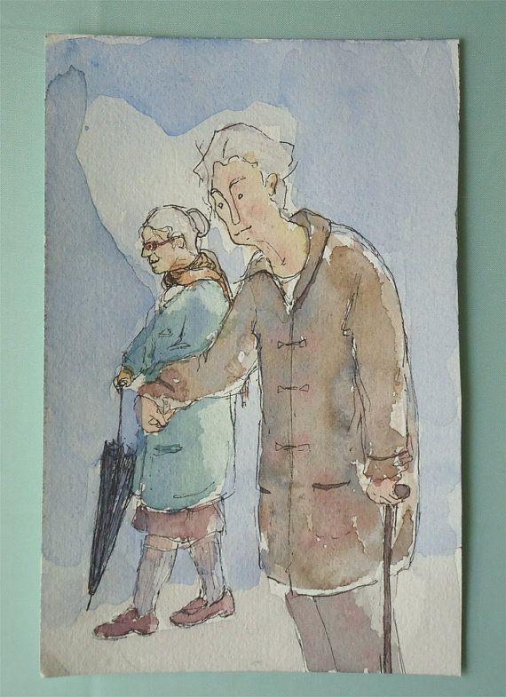Watercolor couple original OOAK love painting by TremblingRhymes