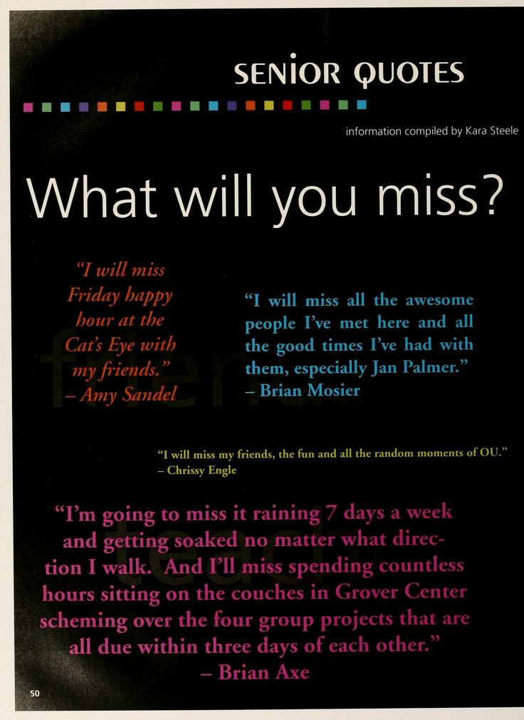 "Athena yearbook, 2005. ""Senior Quotes: What will you miss?"" Students are quoted in the yearbook about what they will miss when they leave OU. :: Ohio University Archives"