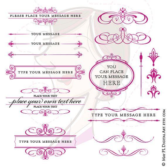Digital Frames Fuschia Pink Page Decoration Text Dividers Oval Frame Calligraphy Flourish Design Elements Vintage DIY Wedding 10649 #Fuschia #Pink #Page