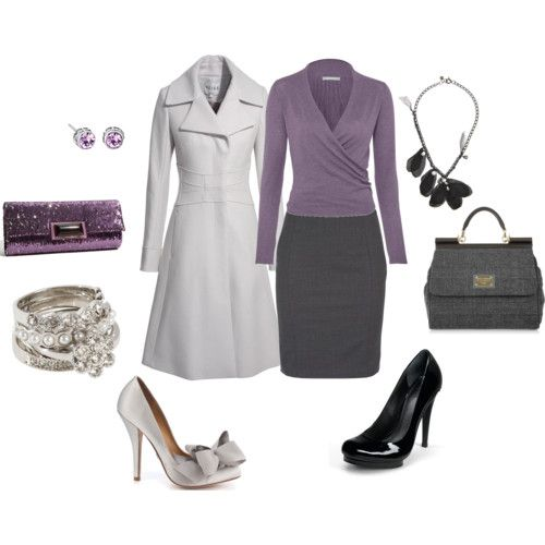 Love the purple and gray! More good teacher clothes - except for the shoes. Those don't work for standing and walking around all day long . . .