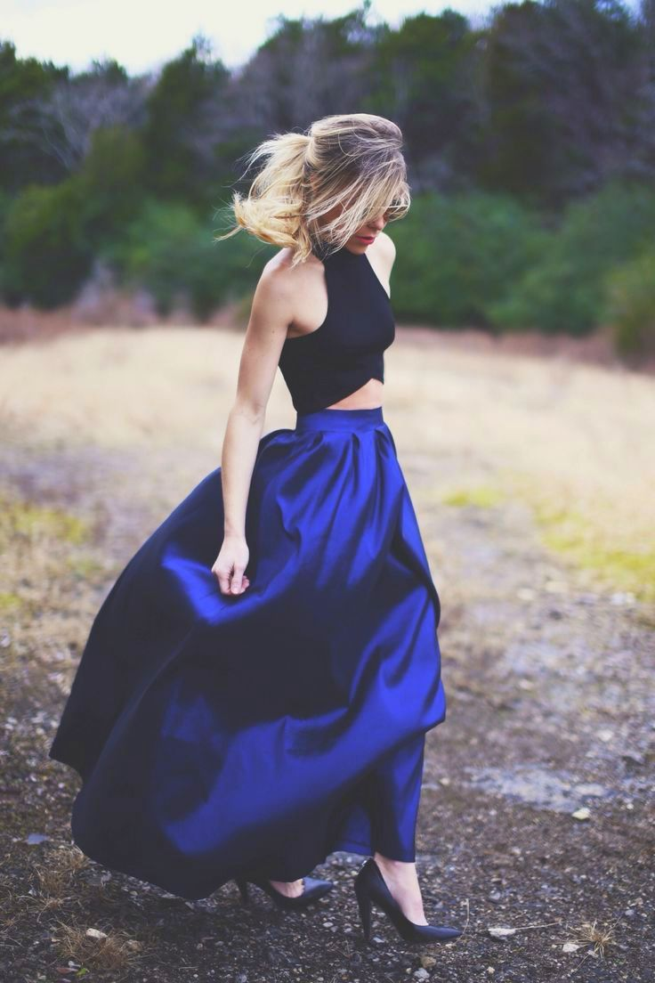 Cobalt full length skirt with black cropped top