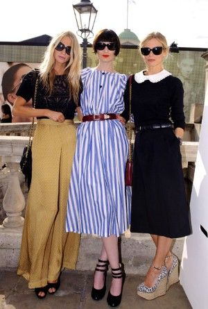 Poppy Delevingne, Erin OConnor, Laura Bailey at the London Fashion Week photo call this morning.