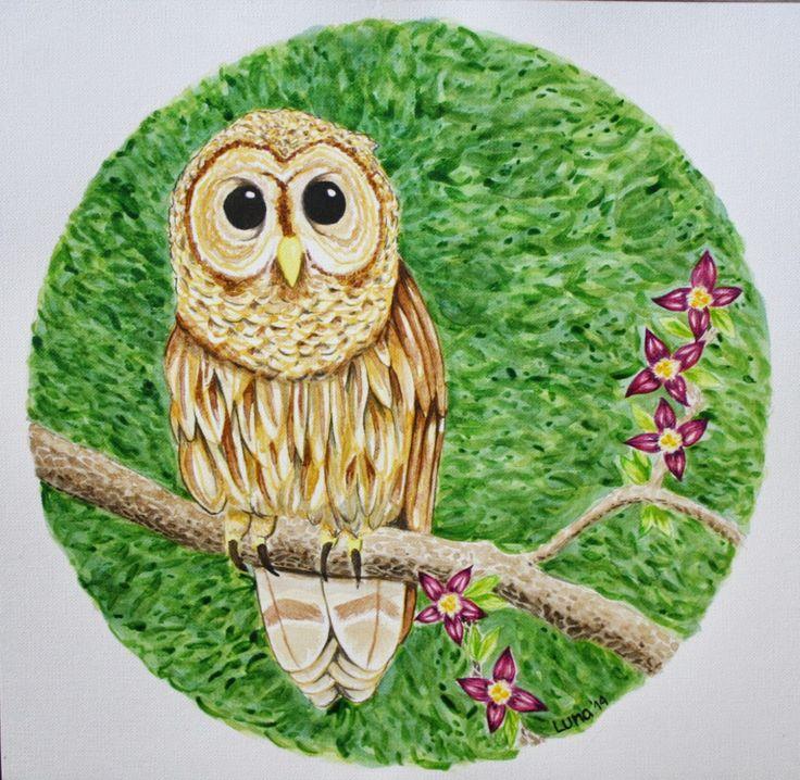 Owl watercolor by Luna Oteíza  https://www.facebook.com/nalu.dibuja?fref=ts