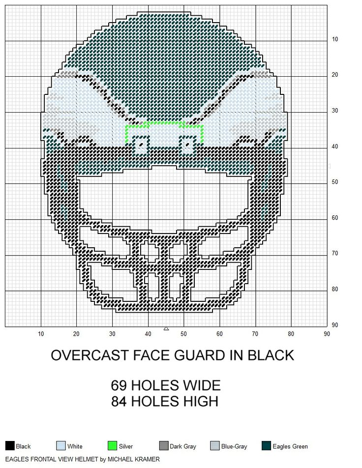 Philadelphia Eagles NFL Frontal View Football Helmet plastic canvas pattern by Michael Kramer
