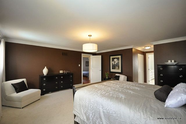 bedroom with brown walls and white trim home pinterest