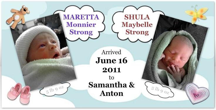 birth announcement for twins: Girls, Birth Announcements, Births