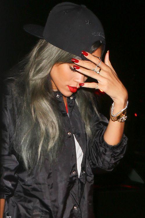black bomber jacket black snapback red nails red lips