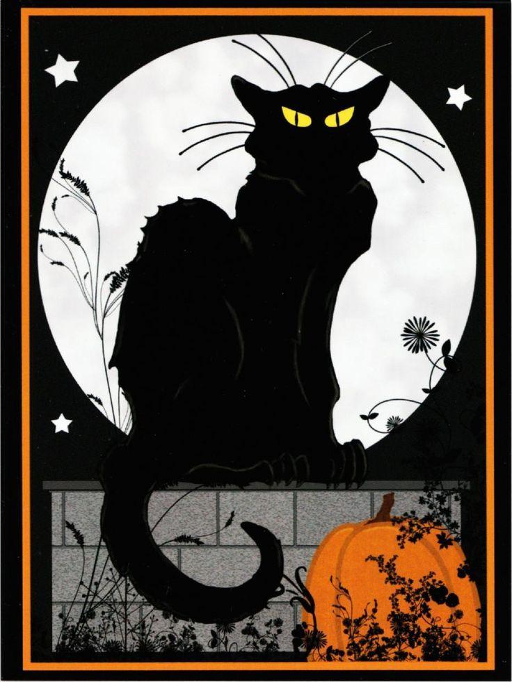 Le Chat Noir Halloween Black Cat by Steinlen Altered Art Postcard 1 | eBay