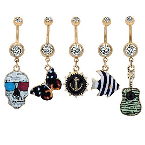 BodyJ4You® Belly Ring Button Dangle Goldtone Skull Anchor Fish Piercing Jewelry Set 5 Pieces