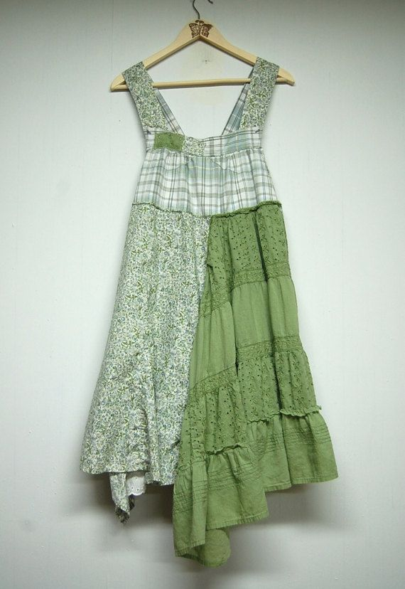 Medium Overall Dress Shabby Chic Pinafore Green by PrimitiveFringe