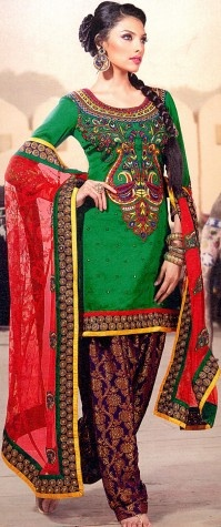 Simply-Green Salwar Kameez with Multi-Color Thread Embroidery on Neck and Sequined Patch Border