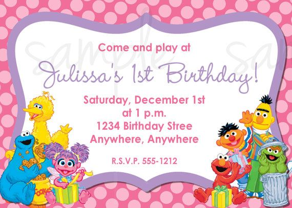 The Best Sesame Street Birthday Invitations Ideas On Pinterest - Birthday invitation for party