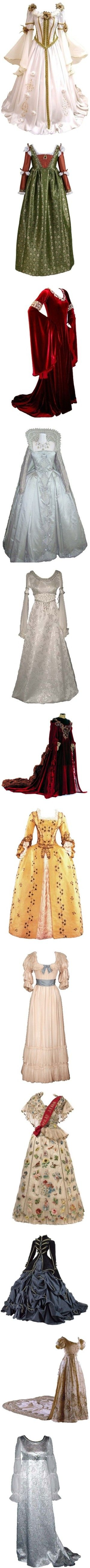 My historic clothing edits by alysianfields on Polyvore featuring dresses, gowns, medieval, costumes, historical, renaissance, costume, long dress, long dresses and 18th century