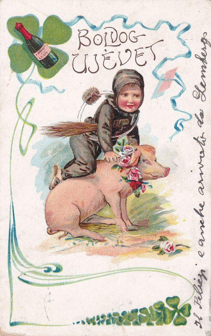 Happy New Year Boldog ÚJ Évet Chimney Sweep and Pig 1909 Budapest Varallo | eBay